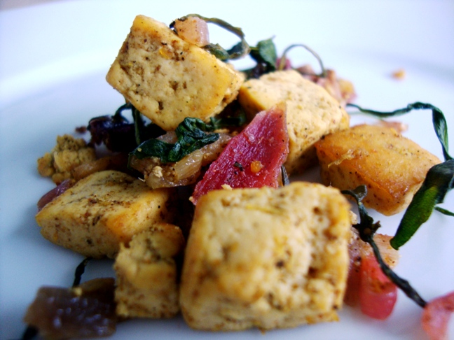 curried tofu with rocket